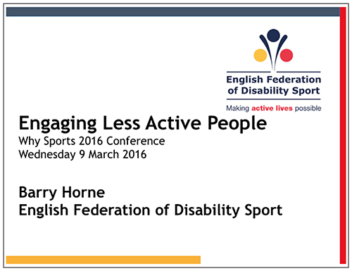 Barry Horne. English Federation of Disability Sport.